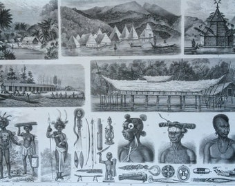 1870 New Guinea Villages and People Large Original Antique Engraved Illustration - Ethnography - Anthropology - Hut - Boat - Weapons