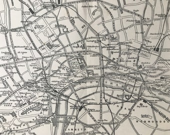 1924 Map of Central London Original Antique Print - City Plan - London - England - Architecture - Mounted and Matted - Available Framed