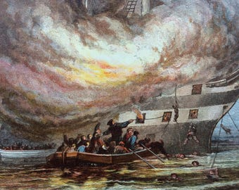 1880 The Burning of the Goliath Original Antique Lithograph - Ship - HMS Goliath - Royal Navy - Naval Decor