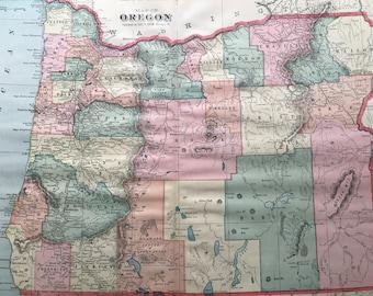 1907 Oregon Large Original Antique Map - Vintage Decor, United States, OR State Map