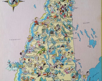 1935 New Hampshire Original Vintage Cartoon Map - Ruth Taylor - Available Mounted and Matted - Whimsical Map - United States