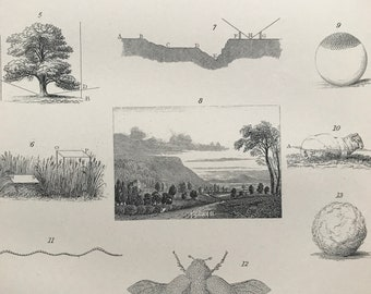 1891 Dew Original Antique Print - Meteorology - Available Mounted, Matted and Framed