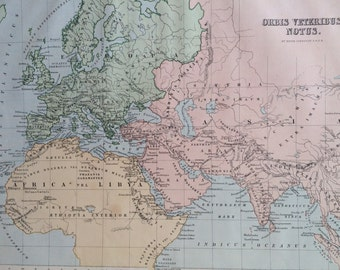 1890 ORBIS VETERIBUS NOTUS Original Antique World Map m, 11 x 14 inches, Johnston Atlas, Home Decor, Cartography, Geography, ancient history