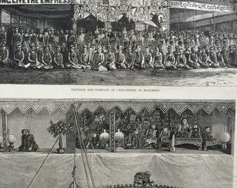 1877 The 'Empress' Title Festivities in British Burmah Original Antique Engraving, Illustrated London News, Victorian Decor - Colonialism
