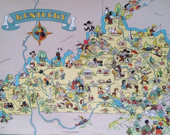 1935 Kentucky Original Vintage Cartoon Map - Ruth Taylor - Available Mounted and Matted - Whimsical Map - United States