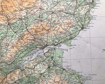1924 Perthshire Original Antique Ordnance Survey Panorama Map - Scotland - Cartography - Geography