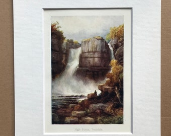 1908 High Force Waterfall Original Antique Print  - Mounted and Matted - Available Framed - Landscape - Teasdale - County Durham - England