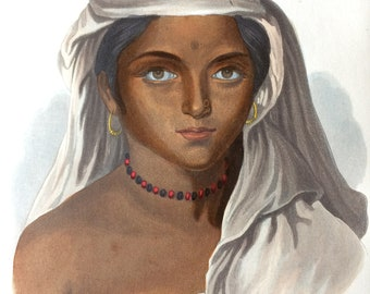 1855 A Woman of the Tuda Race Original Antique Hand Coloured Engraving - Human Races - Anthropology - Ethnography