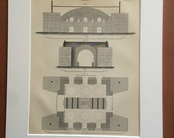 1875 Glass Making Furnace Diagram Original Antique Matted Engraving - Industry - Architecture - Matted & Available Framed