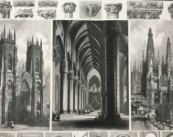 1849 Gothic Cathedral Architecture Large Original Antique Engraving - Mounted and Matted - Pillar, Archway, Column - Available Framed