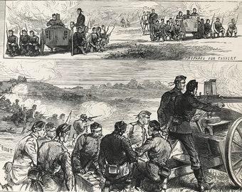 1883 The Nordenfeldt Guns at Aldershott Original Antique Print - Aldershot - Military - Hampshire - Mounted and Matted - Available Framed