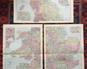 1896 England & Wales Set of 3 Large Original Antique Maps with inset maps of Manchester, Newcastle, Liverpool, Birmingham, London, Sheffield