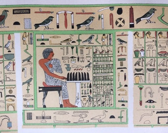 1895 Hieroglyphs Original Antique Lithograph - Mounted and Matted - Ancient Egypt - Vintage Wall Decor - Available Framed