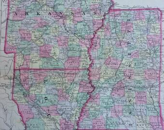 1888 ARKANSAS, MISSISSIPPI & LOUISIANA large rare original antique Mitchell Map - County Map - State - Wall Decor - Home Decor - Gift Idea