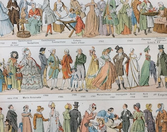1923 Civil Costumes Original Antique Print - Mounted and Matted - Decorative Art - Wall Decor - Historical Costumes - Fashion