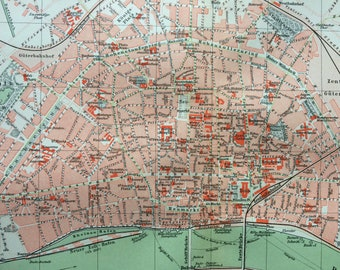 1896 Cologne Large Original Antique Map - Koln - Germany - City Plan - Cartography - Vintage Map - Wall Decor