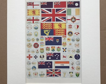 1940s Flags and Badges of the British Empire Original Vintage Print - Mounted and Matted - Vexillology - Military Decor -  Available Framed