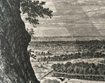 1874 New Haven, View from East Rock, Connecticut Original Antique Wood Engraving - Mounted and Matted - Landscape - United States