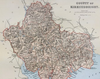 1901 County of Kirkcudbright Original Antique Map - Scottish County, Cartography, Scotland, Victorian Decor - Available Framed