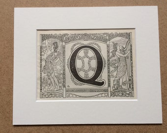 1923 Letter Q Art Nouveau Original Antique Print - Mounted and Matted - Decorative Art - Wall Decor - Gift Idea - Name Day Present
