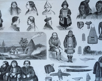 1870 Northeast Asian Tribes, Art and Culture Large Original Antique Engraved Illustration - Ethnography - Anthropology - Siberia - Tungusic