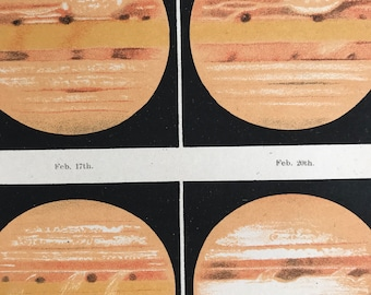1913 The Planet Jupiter in 1897 Original Antique Print - Astronomy - Stars - Celestial - Mounted and Matted - Available Framed