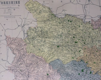 1868 Yorkshire (Northwest) shire Large Original Antique Map showing railways, roads & parliamentary divisions - UK County - Wall Map