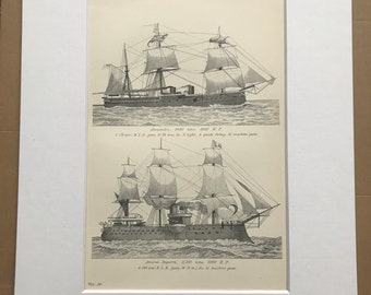 1891 War Vessels Original Antique Print - Armoured Ship - Military Decor - Alexandra and Amiral Duperre - Machine Guns - Available Framed