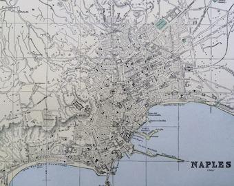 1901 NAPLES Original Antique Map, 11 x 14.5 inches, Home Decor, Cartography, Geography, Vintage Decor, City Plan