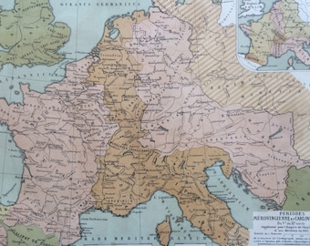 1903 Europe Antique Map - Periods Merovingienne et Carlonvingienne French Language Map - Geography - Cartography - Historical Map