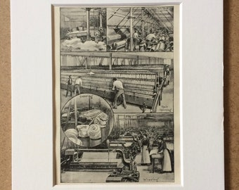 1920s A Modern Cotton Mill Original Vintage Print - Mounted and Matted - Available Framed - Vintage Industry Print - Technology