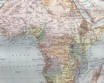 1897 Africa Original Antique Map showing Colonial Powers and Independent States - Mounted and Matted - Available Framed