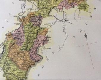 1882 Banff Shire Original Antique Map - Scottish County, cartography, Scotland, Victorian Decor
