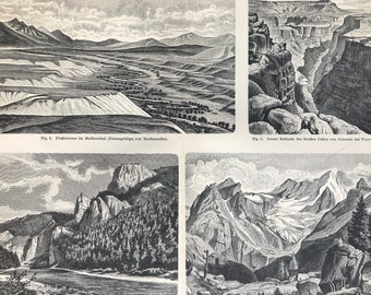 1897 Valley Formations Large Original Antique Lithograph - Available Mounted and Matted - Geology - Vintage Decor