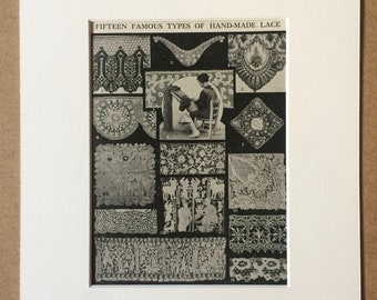 1940s Fifteen Famous Types of Hand-Made Lace Original Vintage Print - Mounted and Matted - Haberdashery - Seamstress - Available Framed