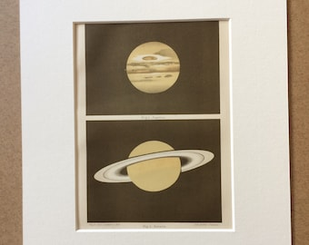 1896 Jupiter and Saturn Original Antique Lithograph - Mounted and Matted - Astronomy - Planets - Vintage Wall Decor - Available Framed
