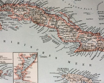 1897 Cuba Small Original Antique Map  with inset maps of Puerto Rico and Harbour of Santiago de Cuba - Vintage Map - Wall Decor