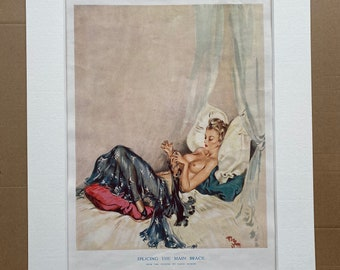 1946 'Splicing the Main Brace' Original Vintage David Wright Folio Print - Pin-Up Girl - Glamour - Mounted and Matted - Available Framed