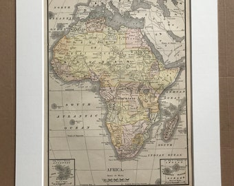 1891 Africa Original Antique Map - Vintage Wall Decor - Wall Map - Available Framed