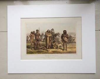 1882 Human Races - Native South Americans Original Antique Lithograph, 11 x 14 inches - Home Decor - Anthropology - Races - Humans
