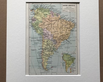 1940s South America Original Vintage Map with inset vegetation map - Continent Map - Mounted and Matted - Available Framed