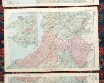 1896 Wales Set of 3 Large Original Antique Maps showing Railways, Stations, Canals, Steam Routs, Parliamentary Boroughs and Divisions