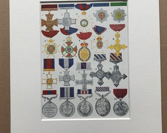 1940s British Orders and Decorations Original Vintage Print - Mounted and Matted - Military Decor -  Framed Vintage Art