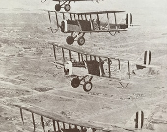 1927 Aeroplane Flying Formation - San Diego, California Original Vintage Print - Mounted and Matted - Aircraft - Airplane - Available Framed