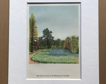1956 Paris - The Pond in front of the Hameaun at Versailles Original Vintage Chiang Yee Illustration - Mounted and matted - Available Framed