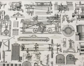 1849 Machinery Diagram Large Original Antique Print - Mounted and Matted - Available Framed - Victorian Technology - Engineering