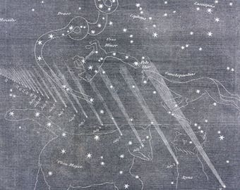 1862 Original Antique Lithograph - Path of the new comet from its discovery - Astronomy - Astrology - Planet - Zodiac - Star - Constellation