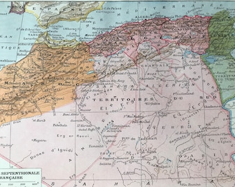 1923 North Africa Original Antique Map - Mounted and Matted - Decorative Art - Wall Decor - Cartography - Morocco - Algeria - Tunisia