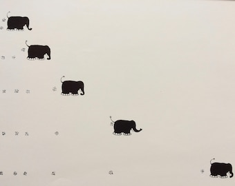 1982 Elephant Original Vintage Children's Book Illustration - Wall Decor - Nursery Art - Minimalist - Black and White - Available Framed