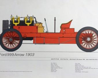 Original Vintage Veteran Car Land-Speed Record Holder Print - Ford 999 Arrow 1903 - Automobile - Motor Car - Vehicle - Automobilia